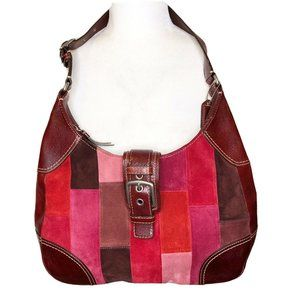 COACH Patchwork Suede Hobo Bag E0893-F11217 Berry,